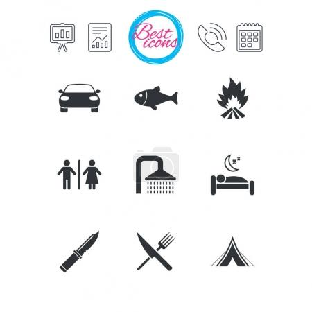 Hiking travel icons