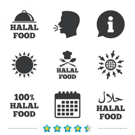 Halal food product sign icon.