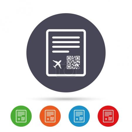 Boarding pass flight sign icon