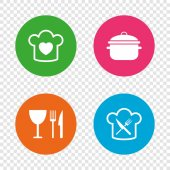 Chief hat with heart and cooking pan icons Crosswise fork and knife signs Boil or stew food symbol Round buttons on transparent background Vector illustration