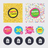 Gold glitter and confetti backgrounds Covers posters and flyers design Sale price tag icons Discount special offer symbols 50% 60% 70% and 80% percent sale signs Sale banners Vector