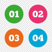 Step one two three and four icons Sequence of options symbols Loading process signs Round buttons on transparent background Vector