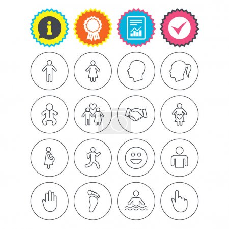 Illustration for Report, information and award signs. Human icons. Male and female symbols. Infant toddler and pregnant woman. Happy smile face. Success deal handshake. Check tick symbol. Flat buttons. Vector - Royalty Free Image