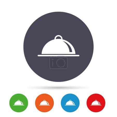 Illustration pour Plaque alimentaire servant icône signe. Réglage de table dans le symbole du restaurant. Boutons ronds colorés avec des icônes plates. Vecteur - image libre de droit