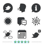Birds icons Social media speech bubble Chat bubble with three dots symbol Information go to web and calendar icons Sun and loud speak symbol Vector