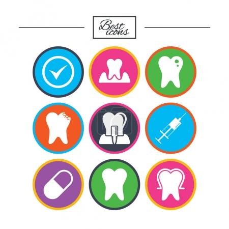 Tooth, dental care icons.