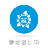 Happy new year globe sign icon Gifts and trees symbol Full rotation 360 Copy files chat speech bubble and chart web icons Vector