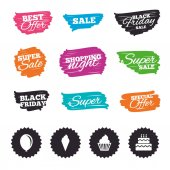 Ink brush sale banners and stripes Birthday party icons Cake with ice cream signs Air balloon symbol Special offer Ink stroke Vector illustration