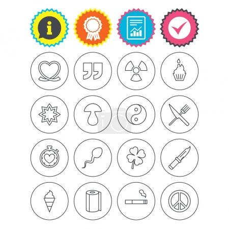 Illustration for Report, information and award signs. Universal icons. Quotes, ribbon heart and cake. Clover, mushroom and ice cream. Smoking, knife and fork. Check tick symbol. Flat buttons. Vector - Royalty Free Image