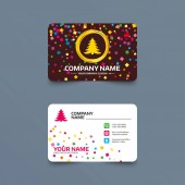 Business card template with confetti pieces Christmas tree sign icon Holidays button Phone web and location icons Visiting card  Vector