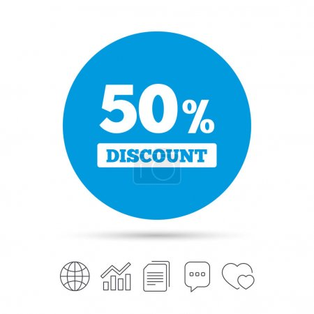 50 percent discount sign icon.