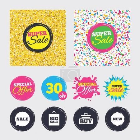 Sale speech bubble icon. Buy cart symbol.