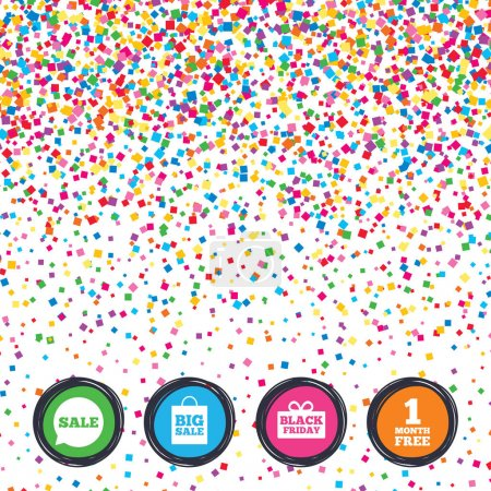 Web buttons on background of confetti.