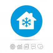 Air conditioning indoors icon Snowflake sign Copy files chat speech bubble and chart web icons Vector