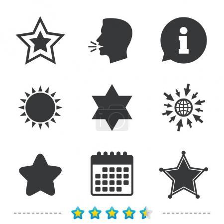 Illustration pour Étoile des icônes David. Signe de police du shérif. Symbole d'Israël. Informations, allez sur les icônes web et calendrier. Soleil et fort symbole parler. Vecteur - image libre de droit