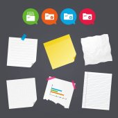 Business paper banners with notes Accounting binders icons Add or remove document folder symbol Bookkeeping management with checkbox Sticky colorful tape Speech bubbles with icons Vector