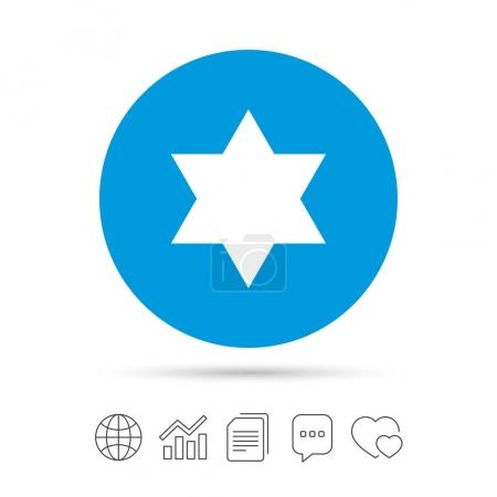 Star of David sign icon.