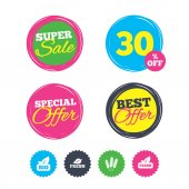 Super sale and best offer stickers Natural fresh Bio food icons Gluten free agricultural sign symbol Shopping labels Vector illustration