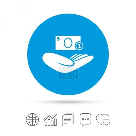Hand holds cash icon.