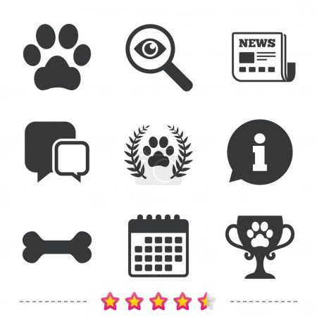 Pets icons. Dog paw sign.