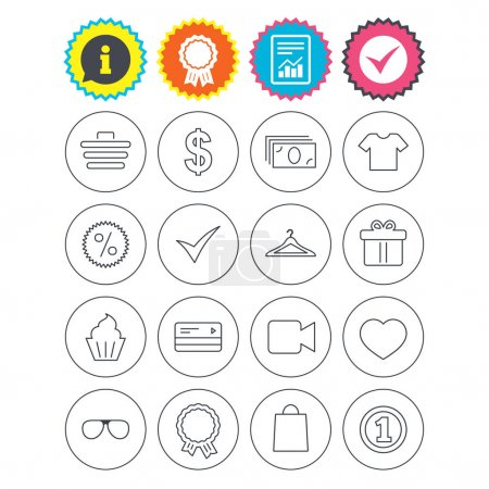 Illustration for Report, information and award signs. Shopping icons. Shopping cart, dollar currency and cash money. Shirt clothes, gift box and hanger. Credit or debit card. Check tick symbol. Flat buttons. Vector - Royalty Free Image