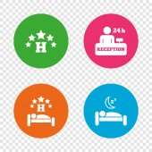 Five stars hotel icons Travel rest place symbols Human sleep in bed sign Hotel 24 hours registration or reception Round buttons on transparent background Vector