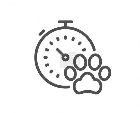 Dog competition line icon. Pets timer sign. Activi...
