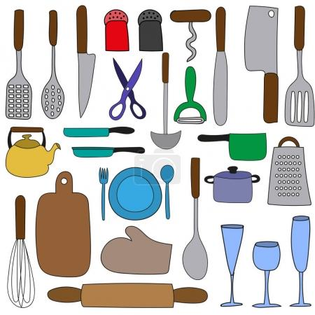 Hand drawing. Doodle. Set of kitchen. Icons...
