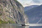 Norwegian fjord landscape. Hellesylt, Geiranger cruise travel.