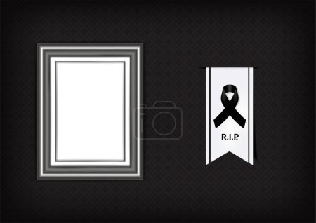 Illustration for Mock up Mourning symbol with Black Respect ribbon and Frame on Texture background Banner. Rest in Peace Funeral card Vector Illustration. - Royalty Free Image
