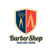 barber shop logo with text space for your slogan / tagline vector illustration