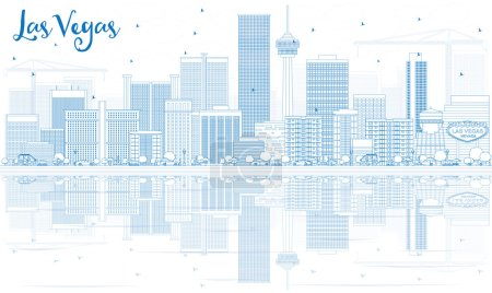 Illustration for Outline Las Vegas Skyline with Blue Buildings and Reflections. Vector Illustration. Business Travel and Tourism Concept with Modern Architecture. Image for Presentation Banner Placard and Web Site. - Royalty Free Image