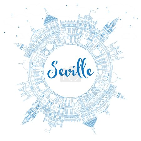Outline Seville Skyline with Blue Buildings and Copy Space.