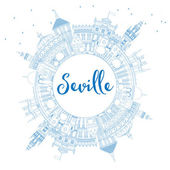 Outline Seville Skyline with Blue Buildings and Copy Space