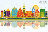 Riga Skyline with Color Buildings Blue Sky and Reflections