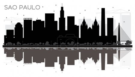 Illustration for Sao Paulo City skyline black and white silhouette with reflections. Vector illustration. Simple flat concept for tourism presentation, banner, placard or web site. Cityscape with landmarks - Royalty Free Image