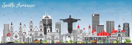 Illustration pour Amérique du Sud Skyline avec des monuments célèbres. Illustration vectorielle. Voyages d'affaires et tourisme Concept. Image pour présentation, bannière, affiche et site Web . - image libre de droit