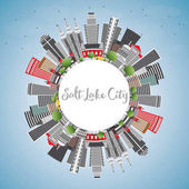Salt Lake City Skyline with Gray Buildings Blue Sky and Copy Space Vector Illustration Business Travel and Tourism Concept with Historic Architecture Image for Presentation Banner Placard and Web