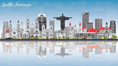 Illustration pour South America Skyline with Famous Landmarks and Reflections. Illustration vectorielle. Voyages d'affaires et tourisme Concept. Image pour présentation, bannière, affiche et site Web . - image libre de droit