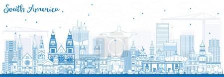 Illustration pour Décrivez l'Amérique du Sud Skyline avec des monuments célèbres. Illustration vectorielle. Voyages d'affaires et tourisme Concept. Image pour présentation, bannière, affiche et site Web . - image libre de droit