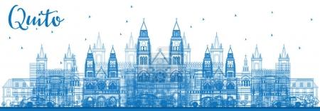 Illustration for Outline Quito Skyline with Blue Buildings. Vector Illustration. Business Travel and Tourism Concept with Historic Architecture. Image for Presentation Banner Placard and Web Site. - Royalty Free Image