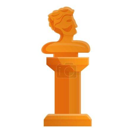 Head sculpture icon, cartoon style