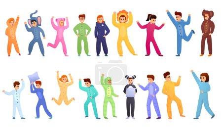 Pajama party icons set, cartoon style