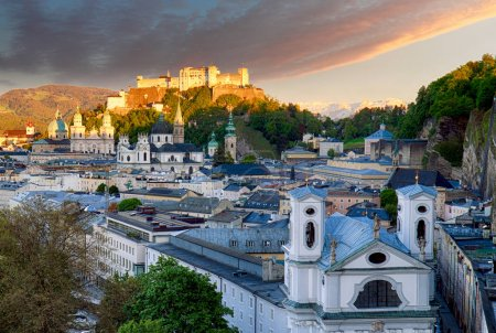 Classic view of the historic city of Salzburg with Salzburg Cath