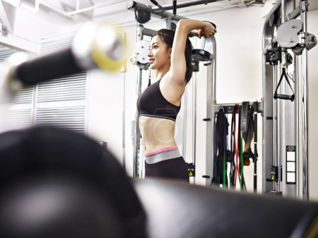 Photo for Young asian woman working out in gym using dumbbell. - Royalty Free Image