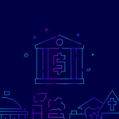 Bank building vector gradient line icon illustration on a dark blue background Related bottom border