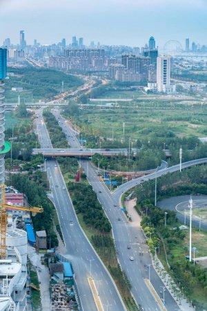 Photo pour Viaduc de l'échange et la route élevée de Shanghai dans la nuit - image libre de droit