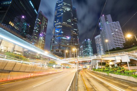 Photo for Traffic in Hong Kong at night - Royalty Free Image
