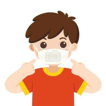 Illustration pour Un garçon mignon porte un masque médical. Masque hygiénique. Protection contre les virus . - image libre de droit