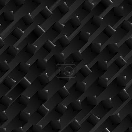Fond noir abstrait sans couture avec des formes carrées noires brillantes avec une bande d'ombres derrière .